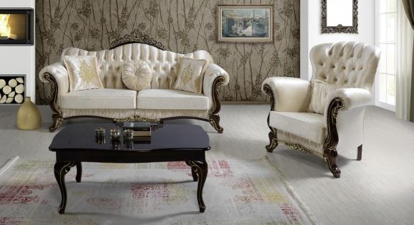 Casa Padrino Barock Wohnzimmer Set Champagnerfarben / Schwarz / Gold - 2 Sofas & 2 Sessel & 1 Couchtisch - Wohnzimmer Möbel - Edel & Prunkvoll