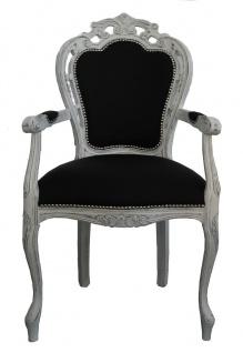 Casa Padrino Barock Esszimmer Stuhl mit Armlehne Schwarz / Vintage Weiß - Designer Stuhl - Luxus Qualität