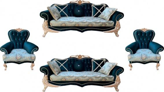 Casa Padrino Luxus Barock Wohnzimmer Set mit elegantem Blumenmuster und Glitzersteinen Türkis / Grün / Creme - 2 Sofas & 2 Sessel - Prunkvolle Barock Wohnzimmer Möbel