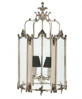 Casa Padrino Barock Hängeleuchte Versilbert Antik-Look, 4 Flammiger Kronleuchter, Breite 39 cm, Höhe 73 cm, Tiefe 42 cm - Barock Schloss Lampe - feinste Qualität