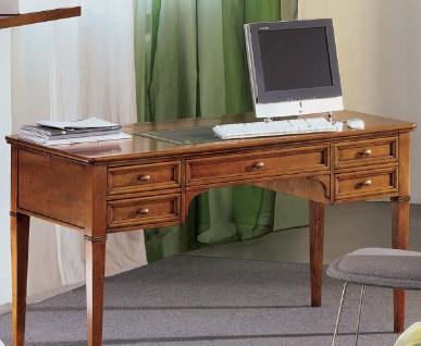 Casa Padrino Luxus Jugendstil Schreibtisch Braun / Antik Messingfarben / Grün / Gold 140 x 70 x H. 80 cm - Massivholz Bürotisch mit 5 Schubladen - Barock & Jugendstil Büromöbel - Luxus Qualität