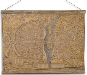 Casa Padrino Wandkarte Die Stadt Paris Braun / Mehrfarbig 70 x H. 53 cm - Antik Stil Karte