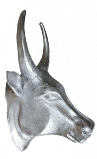 Casa Padrino Designer Stierkopf Höhe: 70 cm, Breite: 58 cm, Tiefe: 42 cm edle Skulptur aus Aluminium, poliert - Edel & Prunkvoll - Vorschau 3