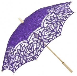 MySchirm Designer Dekoschirm Hochzeitsschirm mit violetter Baumwollspitze - romantischer Dekoschirm
