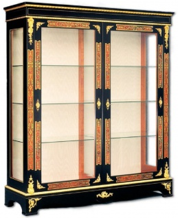 Casa Padrino Luxus Barock Boulle Vitrine Schwarz / Rot / Gold 152 x 45 x H. 172 cm - Handgefertigter Massivholz Vitrinenschrank mit 2 Türen - Edle Barock Möbel