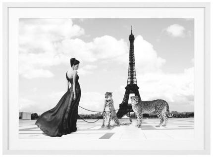 Casa Padrino Luxus Bild Dame mit Geparden in Paris Mehrfarbig / Weiß 115 x H. 85 cm - Kunstdruck mit Holzrahmen - Vorschau 1