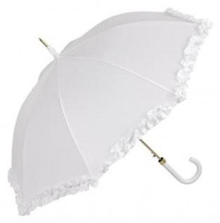 Guy De Jean Designer Regenschirm Weiß mit Rüschen - Made in Paris