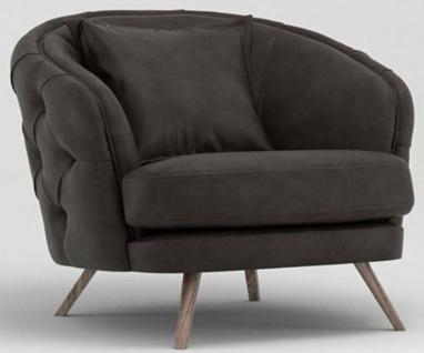 Casa Padrino Luxus Chesterfield Wohnzimmer Sessel Grau / Braun 93 x 90 x H. 75 cm - Wohnzimmer Möbel - Vorschau 1
