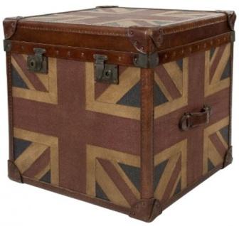 Casa Padrino Luxus Truhe Union Jack Braun / Mehrfarbig 49 x 44 x H. 57 cm - Handgefertigte Echtleder Truhe im Kofferlook