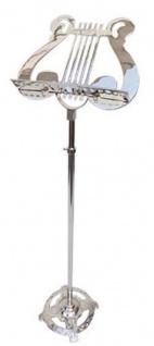 Casa Padrino Designer Messing Notenständer Silber 30, 5 x 24, 5 x H. 148 cm - Luxus Accessoires
