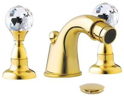 Casa Padrino Luxus Badewannen Armatur mit Swarovski Kristallglas Gold H. 5, 5 cm - Dreilochbatterie mit Ablaufgarnitur - Luxus Bad Zubehör - Made in Italy
