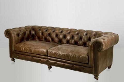 Chesterfield Luxus Echt Leder Sofa 3 Sitzer Vintage Leder von Casa Padrino Cigar