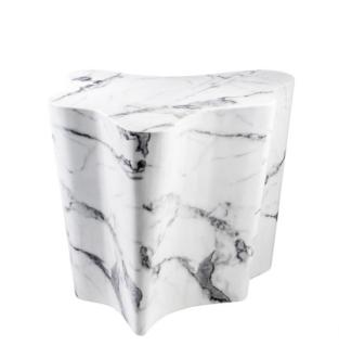 Casa Padrino Luxus Art Deco Designer Beistelltisch aus weißem Kunstmarmor - Luxus Designer Beistelltisch