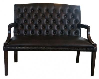 Casa Padrino Chesterfield Echtleder 2er Sitzbank mit Armlehnen Schwarz / Dunkelbraun 120 x 60 x H. 100 cm - Luxus Möbel