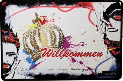 Harald Glööckler Designer Fußmatte Willkommen mit Goldene Krone Bunt 66 x 44 cm - Schmutzfangmatte