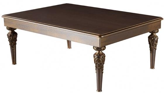 Casa Padrino Luxus Barock Couchtisch Braun / Silber / Kupfer / Gold 115 x 80 x H. 45 cm - Massivholz Wohnzimmertisch mit Glasplatte - Barock Wohnzimmer Möbel