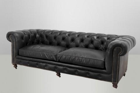 Chesterfield Luxus Echt Leder Sofa 3 Sitzer Vintage Leder von Casa Padrino Old Saddle Black