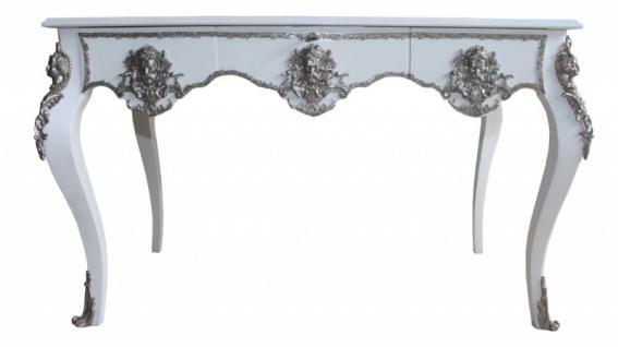 Casa Padrino Luxus Barock Schreibtisch Weiß / Silber Sekretär Luxus Möbel - Vorschau 2