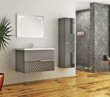 Casa Padrino Luxus Badezimmer Set Grau / Schwarz - 1 Waschtisch und 1 Waschbecken und 1 LED Wandspiegel und 1 Hängeschrank - Luxus Kollektion - Vorschau 2