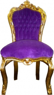 Casa Padrino Barock Esszimmer Stuhl Lila / Gold - Möbel Antik Stil