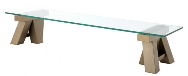 Casa Padrino Luxus Couchtisch Messing 190 x 45 x H. 36 cm - Wohnzimmertisch