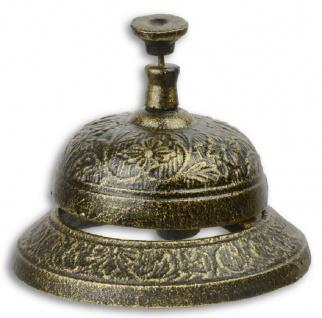 Casa Padrino Antik Stil Tischglocke Antik Gold / Schwarz Ø 11, 6 x H. 8, 5 cm - Gusseisen Tischklingel - Service Glocke - Hotel & Gastronomie Accessoires