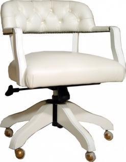 Casa Padrino Luxus Echtleder Büro Stuhl Weiß Drehstuhl Schreibtisch Stuhl - Chefsessel