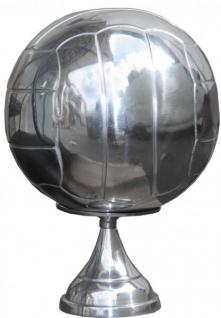 Casa Padrino Fußball Skulptur auf Sockel aus poliertem Aluminium Silber Deko Fußball Art Deco Dekoration Ball Figur - Vorschau 4