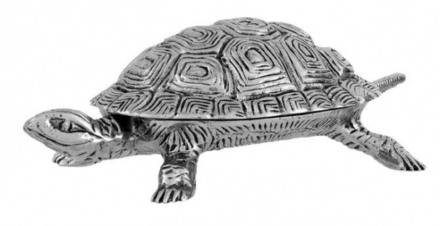 Casa Padrino Luxus Schatulle mit Deckel Schildkröte Messing vernickelt 19.5 x 10.5 cm - Luxus Dekoration