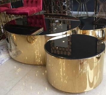 Casa Padrino Luxus Couchtisch Set Gold / Schwarz - 3 Wohnzimmertische mit Glasplatte - Luxus Wohnzimmer Möbel - Vorschau