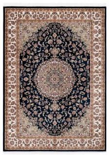 Casa Padrino Teppich mit orientalischen Ornamenten Schwarz / Mehrfarbig - Verschiedene Größen - Wohnzimmer Teppich