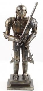 Casa Padrino Mittelalter Deko Ritterrüstung Antik Silber 19, 1 x 12, 1 x H. 45, 3 cm - Kleine Zinnfigur auf Sockel