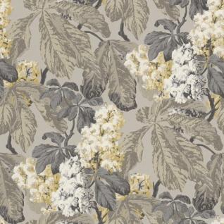 Casa Padrino Barock Vliestapete mit Blumenmuster Grau / Silber / Beige / Weiß 10, 05 x 0, 52 m - Deko Accessoires