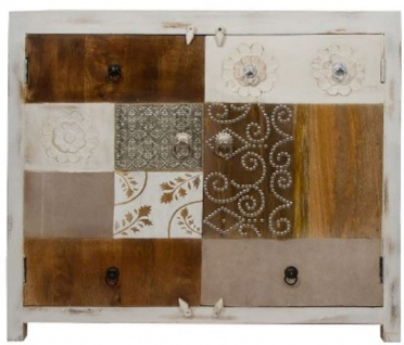 Casa Padrino Landhausstil Kommode mit 2 Türen Antik Weiß / Mehrfarbig 100 x 40 x H. 90 cm - Shabby Chic Möbel