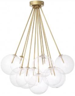 Casa Padrino Luxus Halogen Deckenleuchte Antik Messingfarben Ø 66 x H. 94, 5 cm - Dimmbare Deckenlampe mit runden Glas Lampenschirmen - Luxus Qualität
