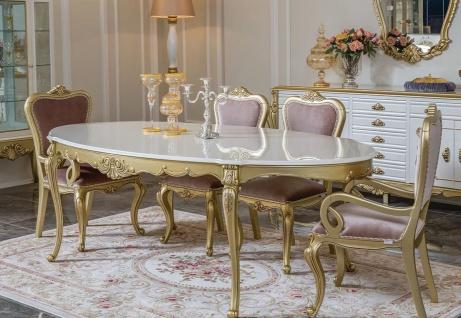 Casa Padrino Luxus Barock Esszimmer Set Rosa / Weiß / Gold - 1 ovaler Esstisch & 6 Esszimmerstühle - Prunkvolle Esszimmer Möbel im Barockstil