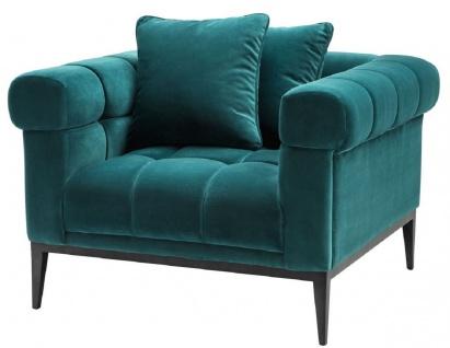 Casa Padrino Luxus Samt Sessel Meergrün / Schwarz 102 x 98 x H. 69 cm - Wohnzimmer Sessel mit 2 Kissen - Wohnzimmer Möbel - Luxus Möbel