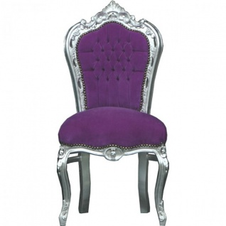 Casa Padrino Barock Esszimmer Stuhl Lila Samtstoff / Silber - Möbel
