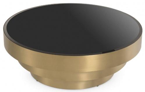 Casa Padrino Luxus Couchtisch Messingfarben / Schwarz Ø 100 x H. 36 cm - Moderner runder Edelstahl Wohnzimmertisch mit Glasplatte - Wohnzimmer Möbel - Luxus Möbel - Vorschau 2
