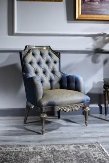 Casa Padrino Luxus Barock Chesterfield Wohnzimmer Sessel Blau / Gold / Schwarz 74 x 88 x H. 103 cm - Barockmöbel