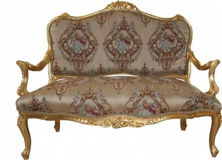 Casa Padrino Barock Sofa Creme Muster / Gold - italienischer Stil - Barock Möbel - prunkvoll und ausgefallen!