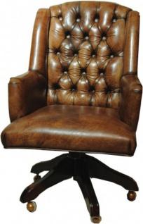 Casa Padrino Luxus Echtleder Chefsessel Büro Stuhl Braun Drehstuhl Schreibtisch Stuhl - Chefbüro - Vorschau 1