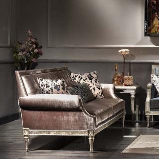 Casa Padrino Luxus Barock Wohnzimmer Samt Sofa Rosa / Antik Silber 250 x 88 x H. 100 cm - Edel & Prunkvoll - Vorschau 4