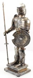Casa Padrino Mittelalter Deko Ritterrüstung Antik Silber 18, 8 x 12, 1 x H. 46, 9 cm - Kleine Zinnfigur auf Sockel - Vorschau 2