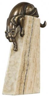 Casa Padrino Luxus Bronzefigur Panther Bronze / Beige 17 x 6 x H. 28 cm - Elegante Dekofigur auf Natursteinsockel - Vorschau 2