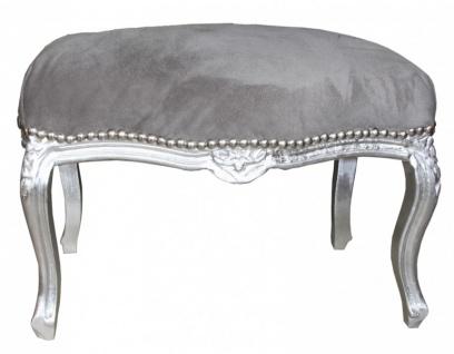 Casa Padrino Barock Sitzhocker Medium Grau / Silber - Antik Stil Möbel - Hocker