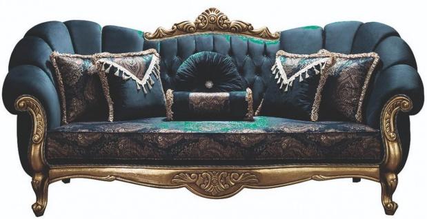 Casa Padrino Luxus Barock Sofa Blau / Gold 220 x 90 x H. 110 cm - Prunkvolles Wohnzimmer Sofa mit Glitzersteinen und dekorativen Kissen