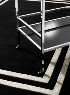 Wunderschöner Luxus Teppich von Casa Padrino aus 100% Neuseeland-Wolle, Schwarz/Weiss Linie, Samtweich - Hochwertige Qualität