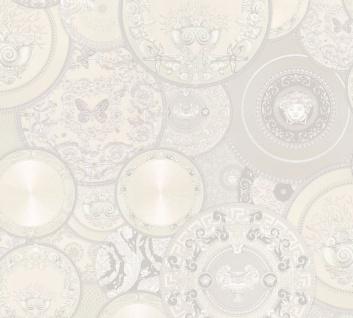 Versace Designer Barock Vliestapete 349014 Les Etoiles de la Mer 2 Weiß / Grau - Design Tapete - Hochwertige Qualität