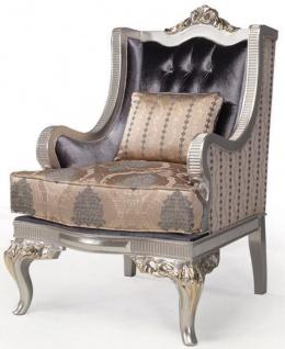 Casa Padrino Luxus Barock Wohnzimmer Sessel mit Kissen Lila / Beige / Silber / Gold 86 x 90 x H. 110 cm - Barockmöbel